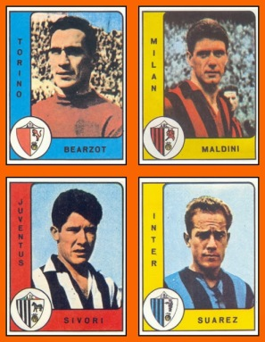 1er album Panini de l'histoire 1961-62 Championnat d'Italie Maldini Bearzot Sivori Suarez